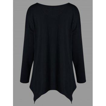 Plus Size Long Sleeve V Neck T-shirt - BLACK BLACK