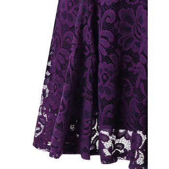 Criss Cross Long Sleeve Lace Dress - PURPLE XL