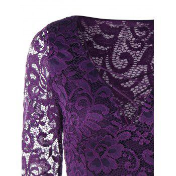 Criss Cross Long Sleeve Lace Dress - PURPLE PURPLE