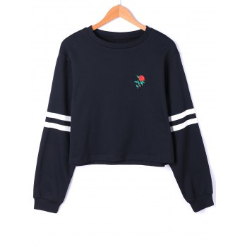 Drop Shoulder Stripes Floral Embroidered Pullover Sweatshirt - WHITE AND BLACK XL