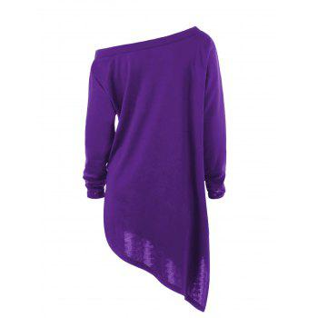 Halloween Plus Size Skew Neck Asymmetric Graphic Sweatshirt - PURPLE 4XL