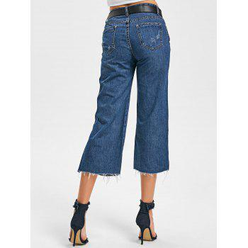 Side Slit Fringe Scratch Denim Capri Pants - BLUE BLUE