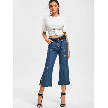 Side Slit Fringe Scratch Denim Capri Pantalons - Bleu 2XL