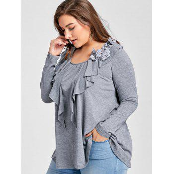 Plus Size Flowers Embellished Long Sleeve T-shirt with Flounce - GRAY XL