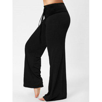 Two Tone Plus Size Lace-up Flare Pants - BLACK BLACK