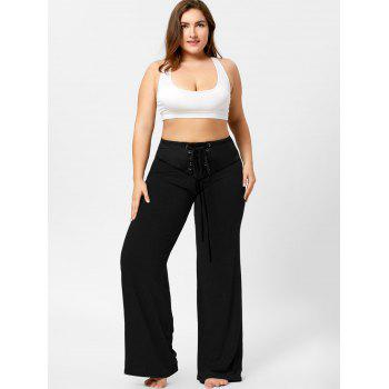 Two Tone Plus Size Lace-up Flare Pants - 3XL 3XL