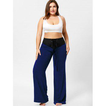 Two Tone Plus Size Lace-up Flare Pants - BLUE 3XL