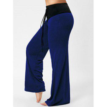 Two Tone Plus Size Lace-up Flare Pants - BLUE BLUE