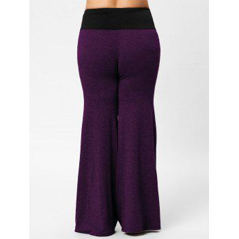 Two Tone Plus Size Lace-up Flare Pants - PURPLE 5XL