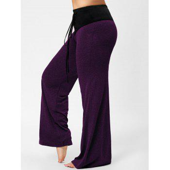 Two Tone Plus Size Lace-up Flare Pants - PURPLE 4XL