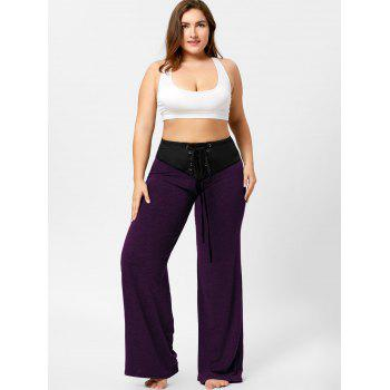 Two Tone Plus Size Lace-up Flare Pants - PURPLE 3XL