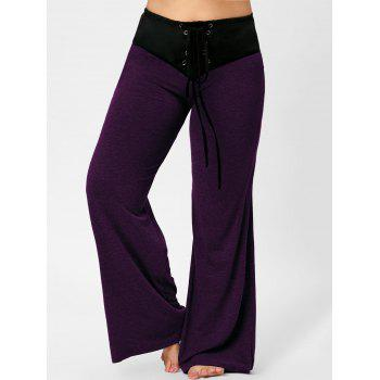 Two Tone Plus Size Lace-up Flare Pants - PURPLE PURPLE