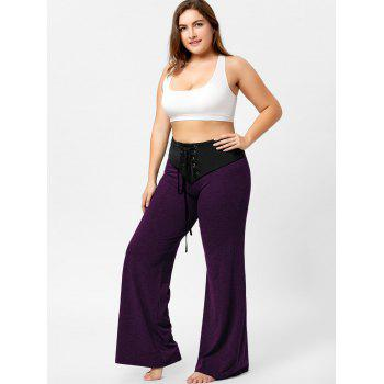 Two Tone Plus Size Lace-up Flare Pants - PURPLE XL