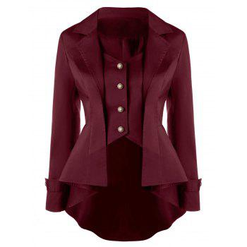 Button Up Notched Collar High Low Coat - DARK RED 2XL