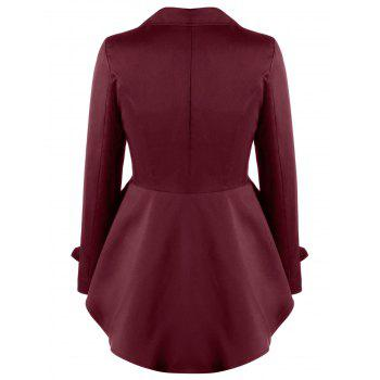 Button Up Notched Collar High Low Coat - DARK RED M