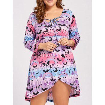 Plus  Size Lace Up High Low Halloween Dress - PINK AND PURPLE PINK/PURPLE