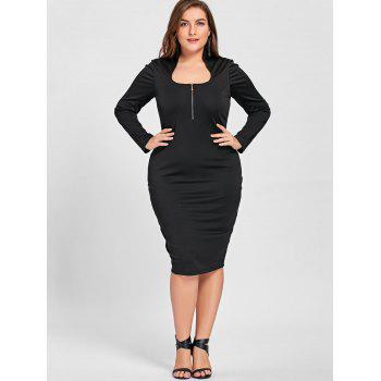 Plus Size Zipper Detail Long Sleeve Formal Dress - BLACK XL