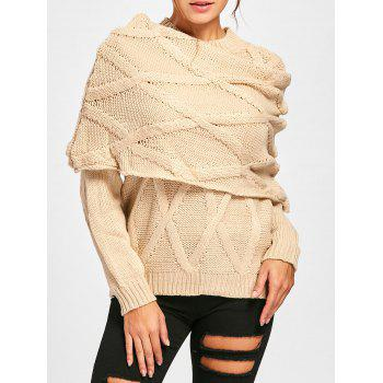 Long Sleeve Cable Knit Sweater with Scarf
