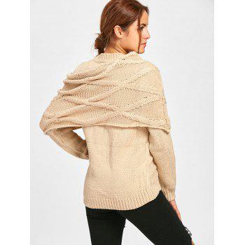 Long Sleeve Cable Knit Sweater with Scarf - BEIGE L