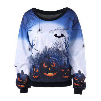 Halloween Plus Size Skew Neck Pumpkin Print Sweatshirt - WHITE 4XL