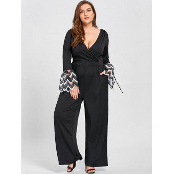 Plus Size Lace Cuff Low Cut Jumpsuit - BLACK 4XL