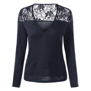 Lace Panel Slim Fit Long Sleeve Top - BLACK 2XL