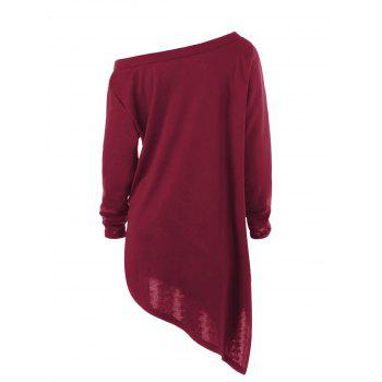 Halloween Plus Size Skew Neck Asymmetric Graphic Sweatshirt - WINE RED 3XL
