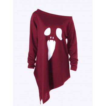 Halloween Plus Size Skew Neck Asymmetric Graphic Sweatshirt - WINE RED WINE RED