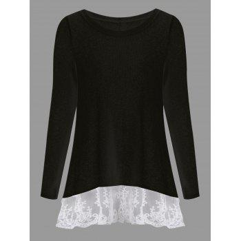 Back Bowknot Lace Panel Long Sleeve Knit Top - BLACK M
