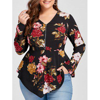Plus Size Half Zipper Floral Asymmetric Long Sleeve Blouse