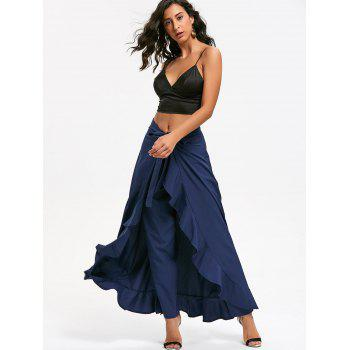 Tie Front Ruffle Skirted Pants - BLUE BLUE