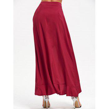 Tie Front Ruffle Skirted Pants - WINE RED WINE RED
