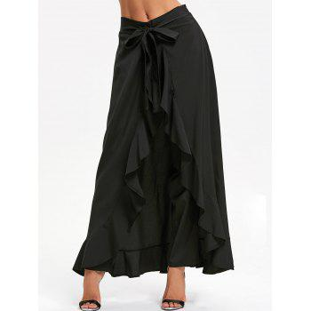 Tie Front Ruffle Skirted Pants - BLACK BLACK