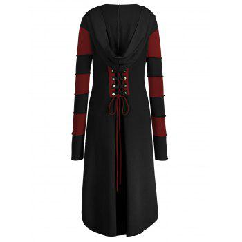 High Low Plus Size Lace-up Hooded Coat - BLACK/RED XL