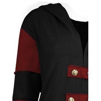 High Low Plus Size Lace-up Hooded Coat - BLACK/RED BLACK/RED