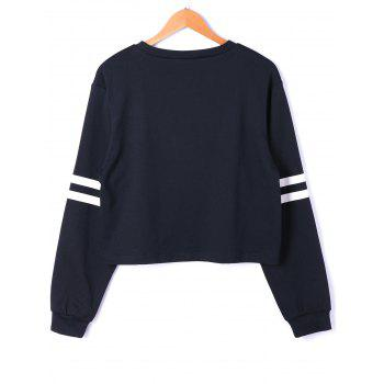 Drop Shoulder Stripes Floral Embroidered Pullover Sweatshirt - WHITE/BLACK M