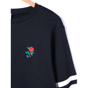 Drop Shoulder Stripes Floral Embroidered Pullover Sweatshirt - WHITE/BLACK WHITE/BLACK
