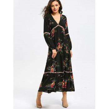 Empire Waisted Floral Print Maxi Dress - L L