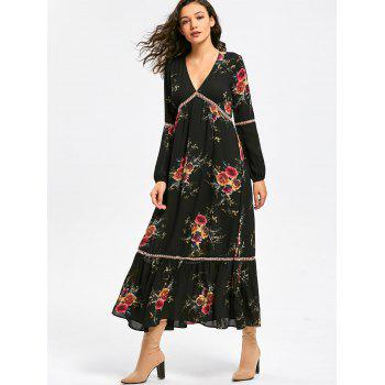 Empire Waisted Floral Print Maxi Dress - BLACK XL
