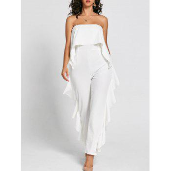 Ruffle Trimmed Bandeau Jumpsuit - WHITE S