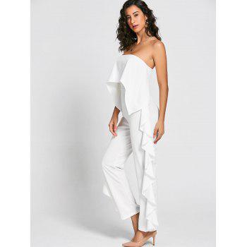 Ruffle Trimmed Bandeau Jumpsuit - WHITE WHITE