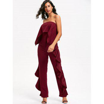 Ruffle Trimmed Bandeau Jumpsuit - WINE RED L
