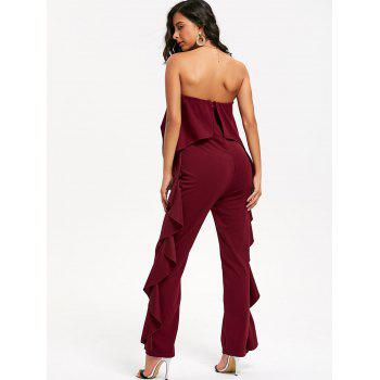 Ruffle Trimmed Bandeau Jumpsuit - WINE RED M