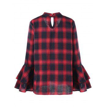 Plus Size Plaid Flare Sleeve Choker Blouse - RED/BLACK RED/BLACK