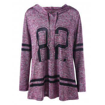 Plus Size Marled Tunic Hoodie - PURPLISH RED PURPLISH RED