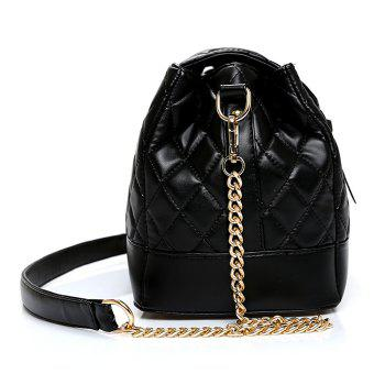 Chain Buckle Strap Quilted Shoulder Bag - BLACK