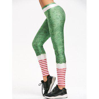 Christmas Striped Belt Print Leggings
