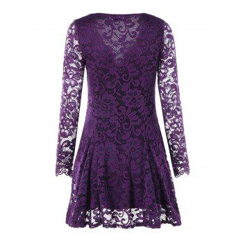 Criss Cross Long Sleeve Lace Dress - PURPLE M