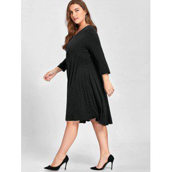 Plus Size Empire Waist Knee Length Dress - BLACK BLACK