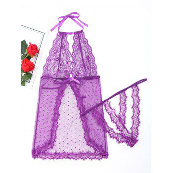 Halter Mesh See Through Babydoll - PURPLE PURPLE